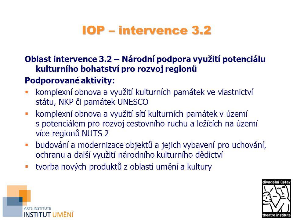 IOP – intervence 3.2 Oblast intervence 3.2 – Národní podpora využití potenciálu kulturního bohatství pro rozvoj regionů Podporované aktivity:  komple