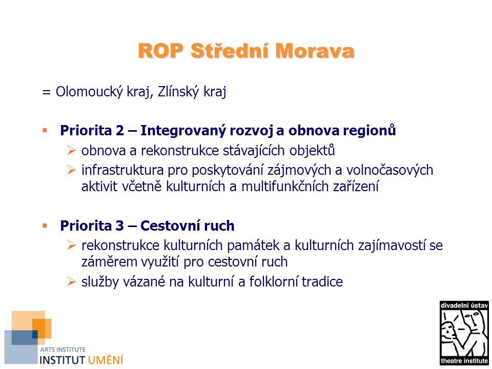 ROP Střední Morava = Olomoucký kraj, Zlínský kraj  Priorita 2 – Integrovaný rozvoj a obnova regionů  obnova a rekonstrukce stávajících objektů  inf