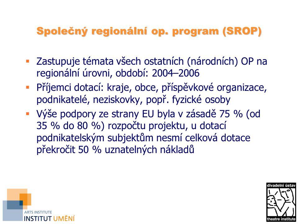 Společný regionální op. program (SROP)  Zastupuje témata všech ostatních (národních) OP na regionální úrovni, období: 2004–2006  Příjemci dotací: kr