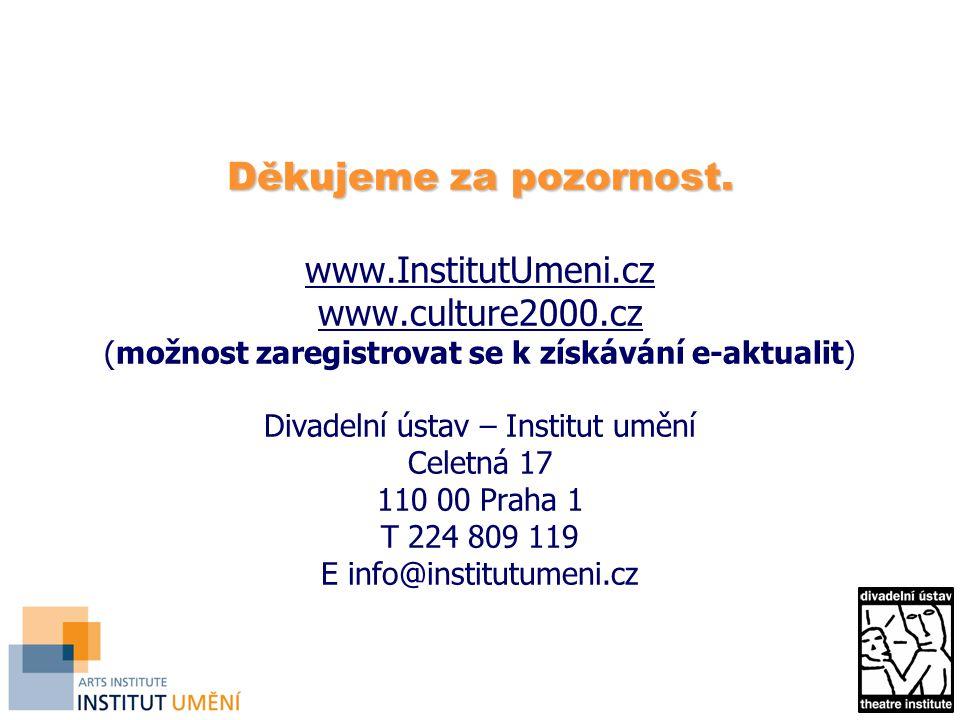 Děkujeme za pozornost. Děkujeme za pozornost. www.InstitutUmeni.cz www.culture2000.cz (možnost zaregistrovat se k získávání e-aktualit) Divadelní ústa