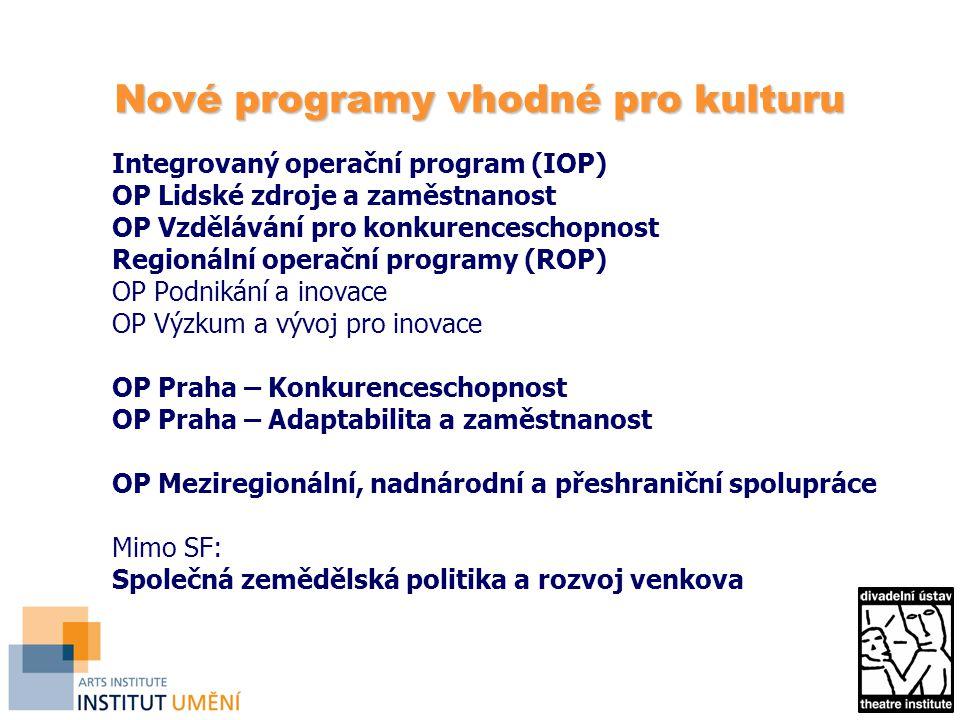 Nové programy vhodné pro kulturu Integrovaný operační program (IOP) OP Lidské zdroje a zaměstnanost OP Vzdělávání pro konkurenceschopnost Regionální o