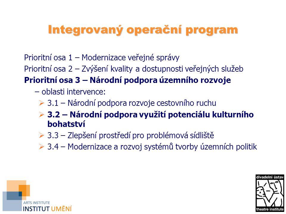 Integrovaný operační program Prioritní osa 1 – Modernizace veřejné správy Prioritní osa 2 – Zvýšení kvality a dostupnosti veřejných služeb Prioritní o
