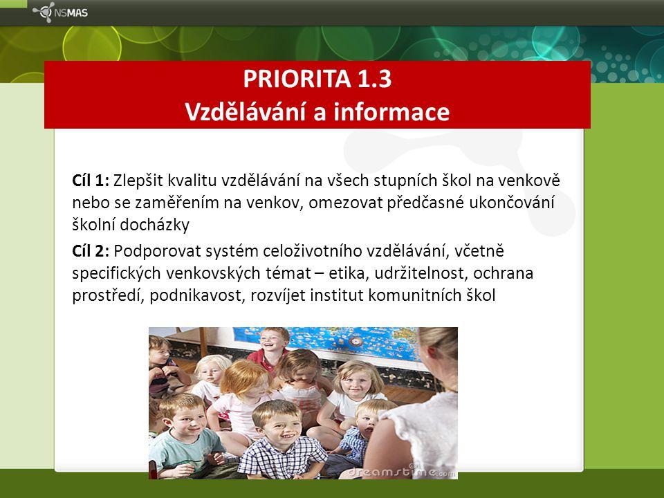 PRIORITA 1.3 Vzdělávání a informace Cíl 1: Zlepšit kvalitu vzdělávání na všech stupních škol na venkově nebo se zaměřením na venkov, omezovat předčasn