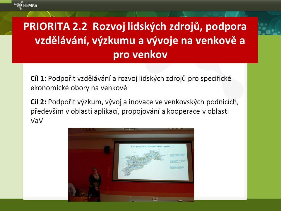 PRIORITA 2.2 Rozvoj lidských zdrojů, podpora vzdělávání, výzkumu a vývoje na venkově a pro venkov Cíl 1: Podpořit vzdělávání a rozvoj lidských zdrojů
