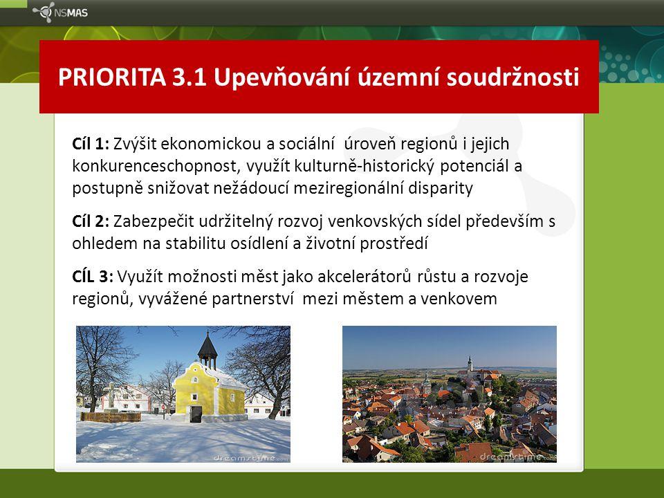 PRIORITA 3.1 Upevňování územní soudržnosti Cíl 1: Zvýšit ekonomickou a sociální úroveň regionů i jejich konkurenceschopnost, využít kulturně-historick