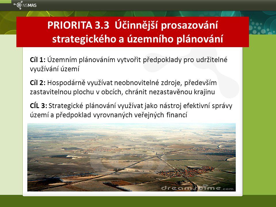 PRIORITA 3.3 Účinnější prosazování strategického a územního plánování Cíl 1: Územním plánováním vytvořit předpoklady pro udržitelné využívání území Cí