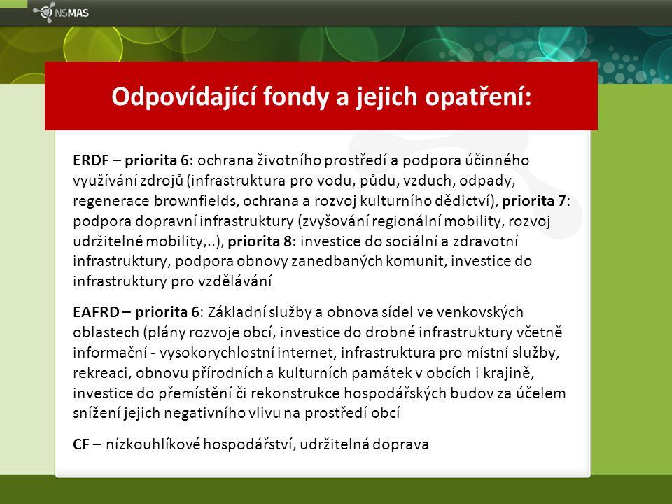 Odpovídající fondy a jejich opatření: ERDF – priorita 6: ochrana životního prostředí a podpora účinného využívání zdrojů (infrastruktura pro vodu, půd