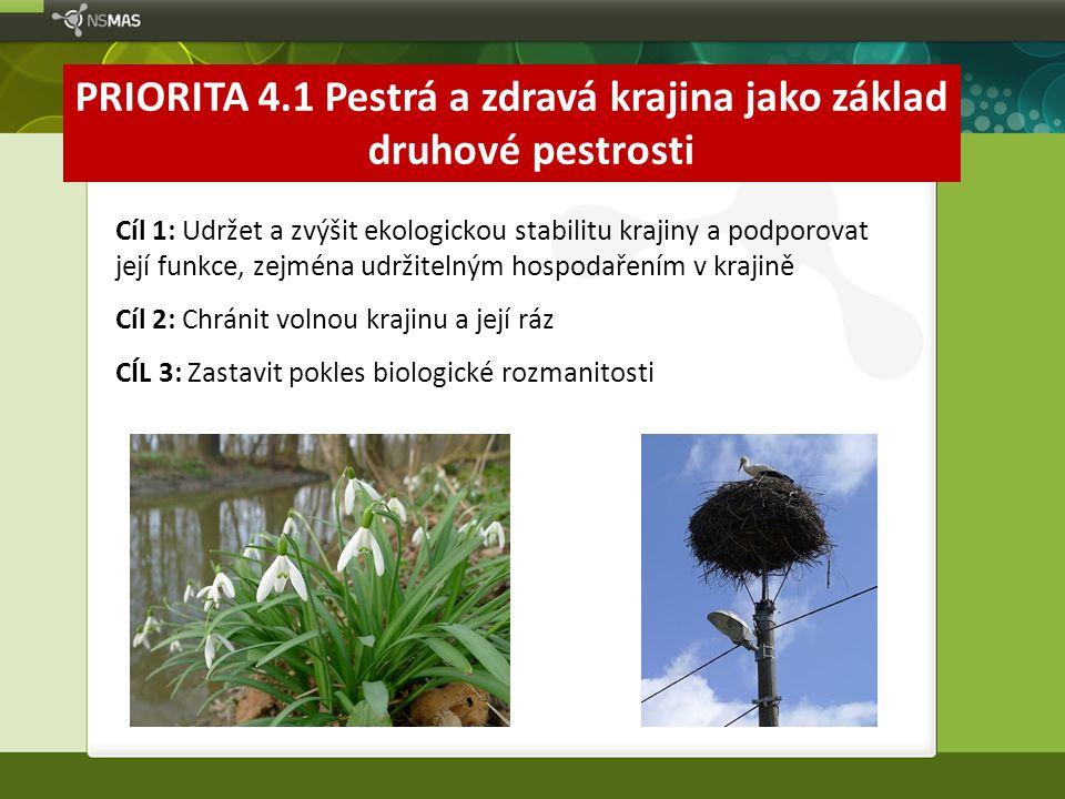 PRIORITA 4.1 Pestrá a zdravá krajina jako základ druhové pestrosti Cíl 1: Udržet a zvýšit ekologickou stabilitu krajiny a podporovat její funkce, zejm