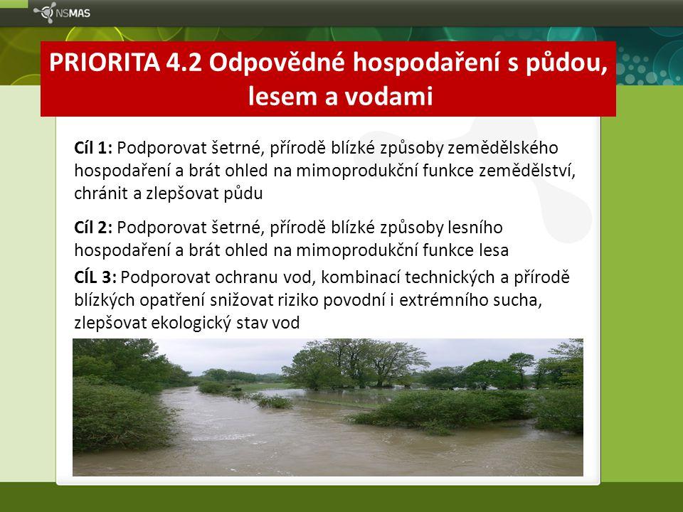 PRIORITA 4.2 Odpovědné hospodaření s půdou, lesem a vodami Cíl 1: Podporovat šetrné, přírodě blízké způsoby zemědělského hospodaření a brát ohled na m