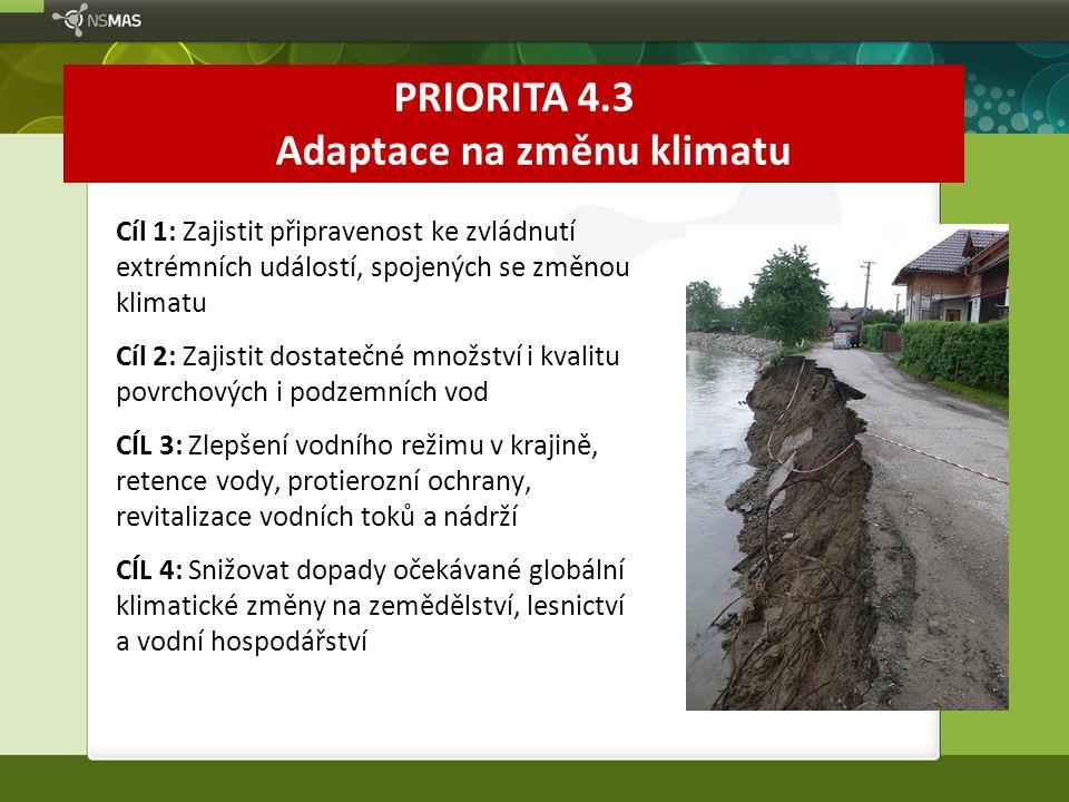 PRIORITA 4.3 Adaptace na změnu klimatu Cíl 1: Zajistit připravenost ke zvládnutí extrémních událostí, spojených se změnou klimatu Cíl 2: Zajistit dost
