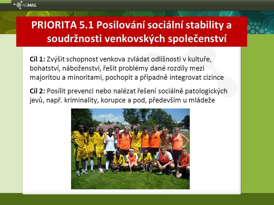 PRIORITA 5.1 Posilování sociální stability a soudržnosti venkovských společenství Cíl 1: Zvýšit schopnost venkova zvládat odlišnosti v kultuře, bohats