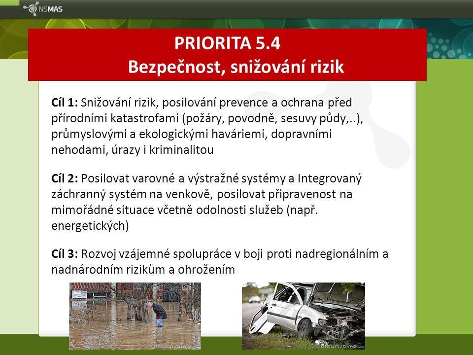 PRIORITA 5.4 Bezpečnost, snižování rizik Cíl 1: Snižování rizik, posilování prevence a ochrana před přírodními katastrofami (požáry, povodně, sesuvy p