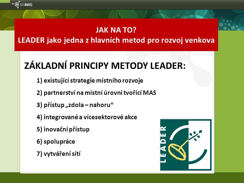 """ZÁKLADNÍ PRINCIPY METODY LEADER: 1) existující strategie místního rozvoje 2) partnerství na místní úrovni tvořící MAS 3) přístup """"zdola – nahoru"""" 4) i"""