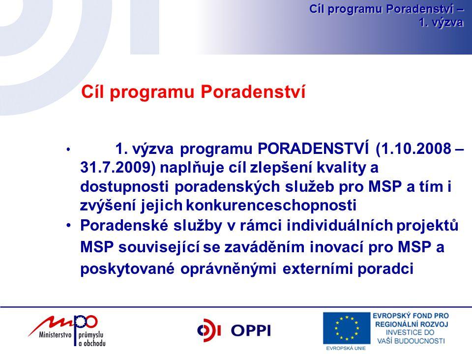 Cíl programu Poradenství – 1.výzva Cíl programu Poradenství 1.