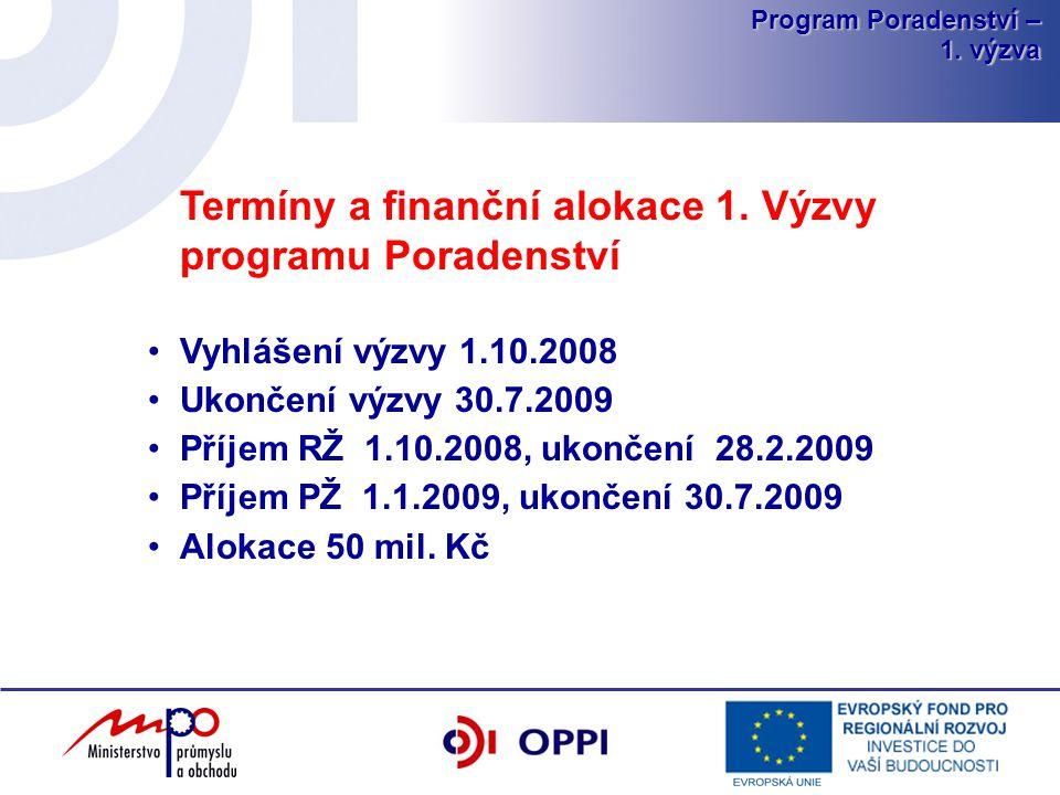 Program Poradenství – 1.výzva Termíny a finanční alokace 1.
