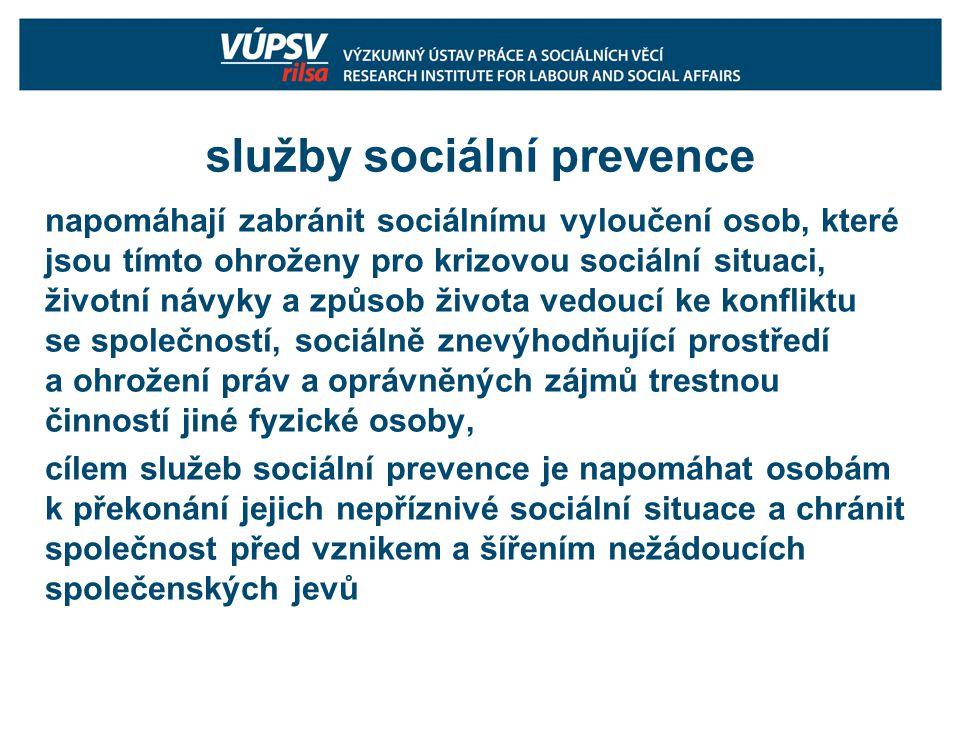služby sociální prevence napomáhají zabránit sociálnímu vyloučení osob, které jsou tímto ohroženy pro krizovou sociální situaci, životní návyky a způsob života vedoucí ke konfliktu se společností, sociálně znevýhodňující prostředí a ohrožení práv a oprávněných zájmů trestnou činností jiné fyzické osoby, cílem služeb sociální prevence je napomáhat osobám k překonání jejich nepříznivé sociální situace a chránit společnost před vznikem a šířením nežádoucích společenských jevů