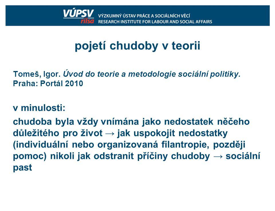 pojetí chudoby v teorii Tomeš, Igor. Úvod do teorie a metodologie sociální politiky.