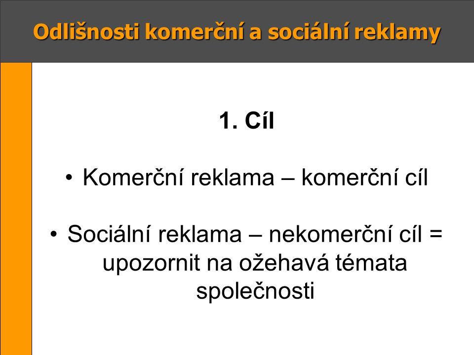 Odlišnosti komerční a sociální reklamy 1. Cíl Komerční reklama – komerční cíl Sociální reklama – nekomerční cíl = upozornit na ožehavá témata společno