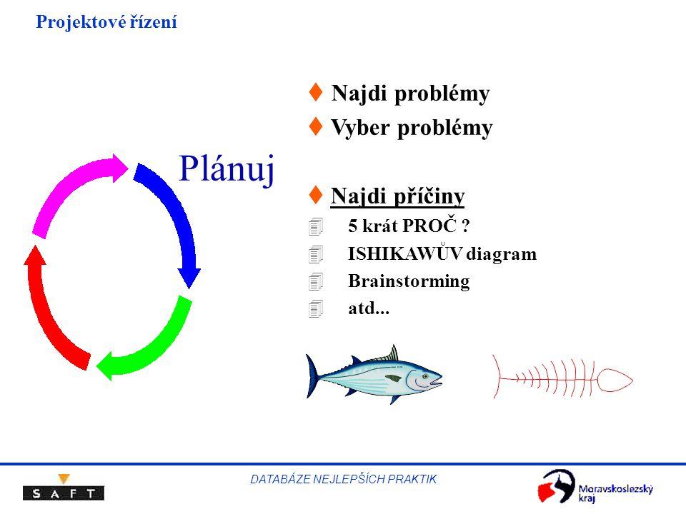 Projektové řízení DATABÁZE NEJLEPŠÍCH PRAKTIK  Najdi problémy t Vyber problémy t Najdi příčiny 4 5 krát PROČ ? 4 ISHIKAWŮV diagram 4 Brainstorming 4