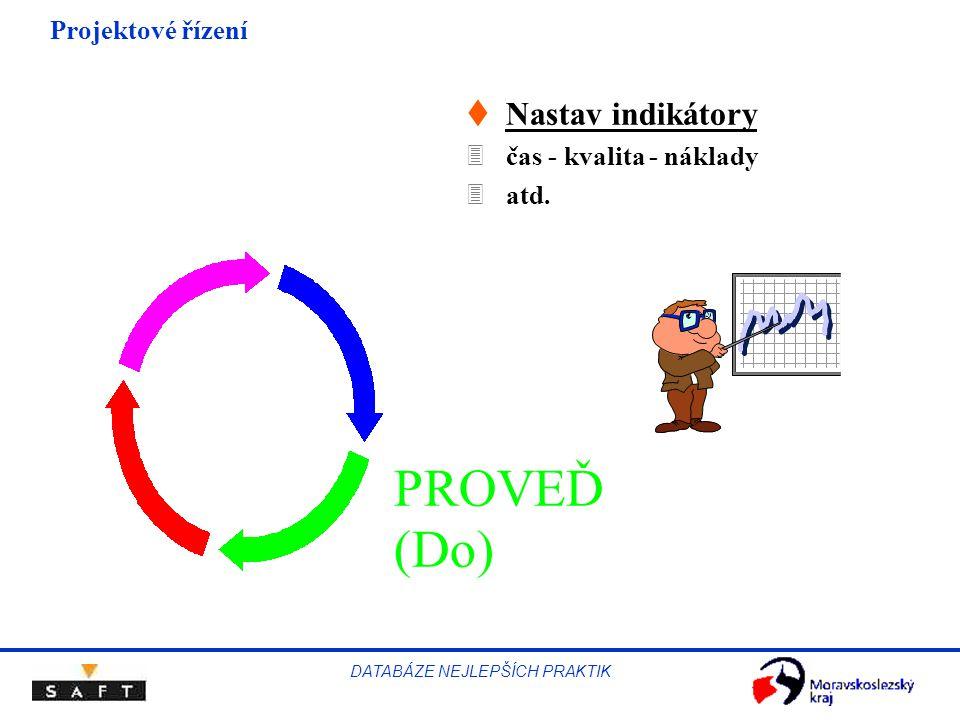 Projektové řízení DATABÁZE NEJLEPŠÍCH PRAKTIK PROVEĎ (Do) tNastav indikátory 3čas - kvalita - náklady 3atd.