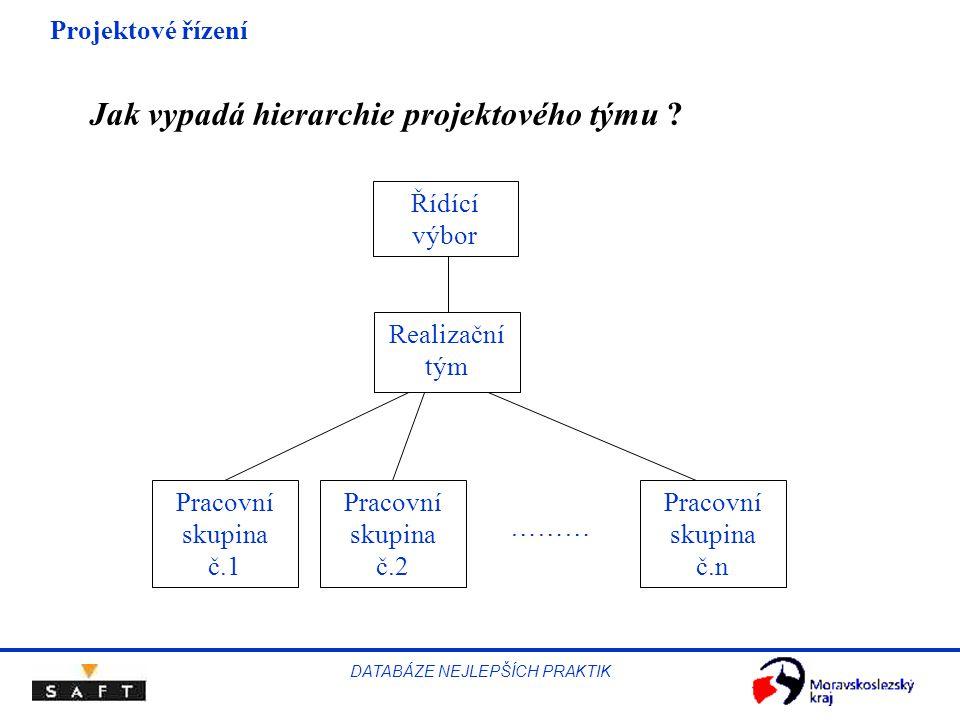 Projektové řízení DATABÁZE NEJLEPŠÍCH PRAKTIK Jak vypadá hierarchie projektového týmu ? Řídící výbor Realizační tým Pracovní skupina č.1 Pracovní skup
