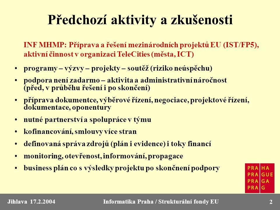 Jihlava 17.2.2004Informatika Praha / Strukturální fondy EU 2 Předchozí aktivity a zkušenosti INF MHMP: Příprava a řešení mezinárodních projektů EU (IS