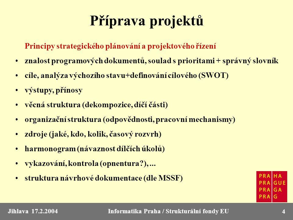 Jihlava 17.2.2004Informatika Praha / Strukturální fondy EU 4 Příprava projektů Principy strategického plánování a projektového řízení znalost programo