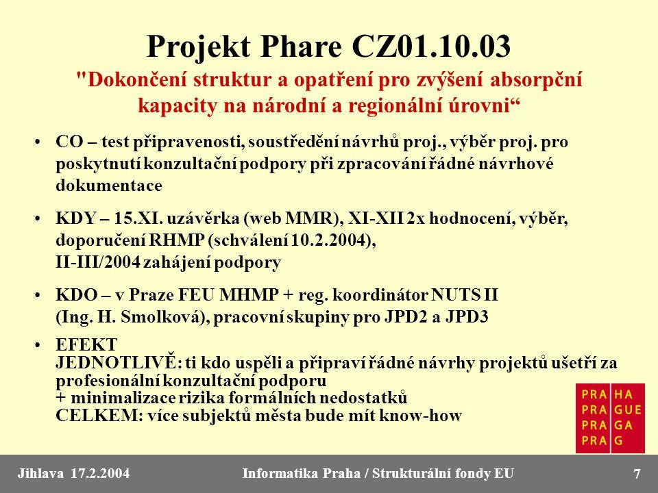 Jihlava 17.2.2004Informatika Praha / Strukturální fondy EU 7 Projekt Phare CZ01.10.03