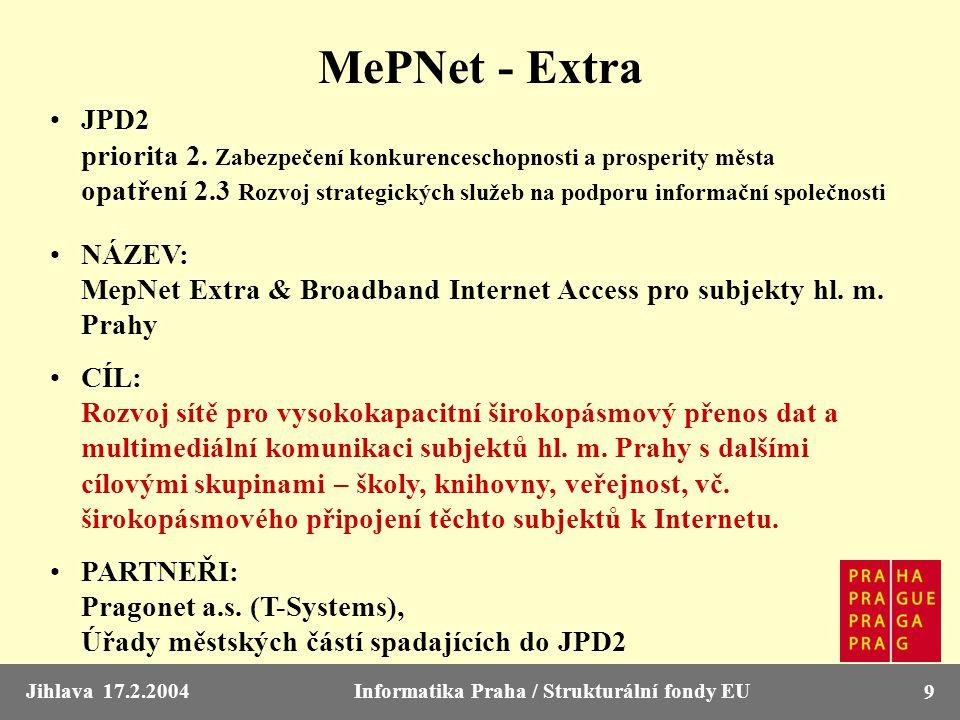 Jihlava 17.2.2004Informatika Praha / Strukturální fondy EU 9 MePNet - Extra JPD2 priorita 2. Zabezpečení konkurenceschopnosti a prosperity města opatř