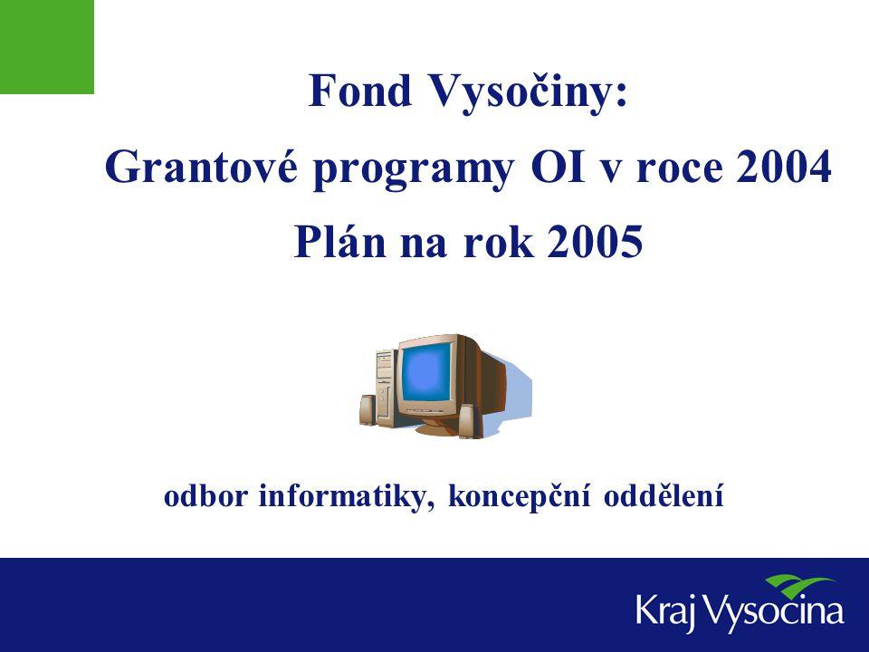 Fond Vysočiny: Grantové programy OI v roce 2004 Plán na rok 2005 odbor informatiky, koncepční oddělení
