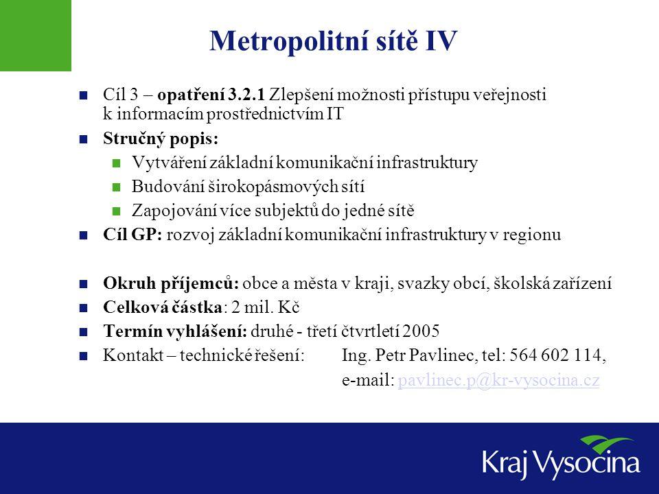 Metropolitní sítě IV Cíl 3 – opatření 3.2.1 Zlepšení možnosti přístupu veřejnosti k informacím prostřednictvím IT Stručný popis: Vytváření základní ko