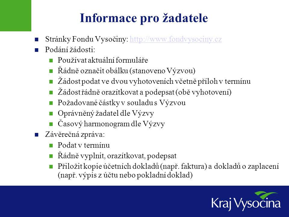 Informace pro žadatele Stránky Fondu Vysočiny: http://www.fondvysociny.czhttp://www.fondvysociny.cz Podání žádosti: Používat aktuální formuláře Řádně