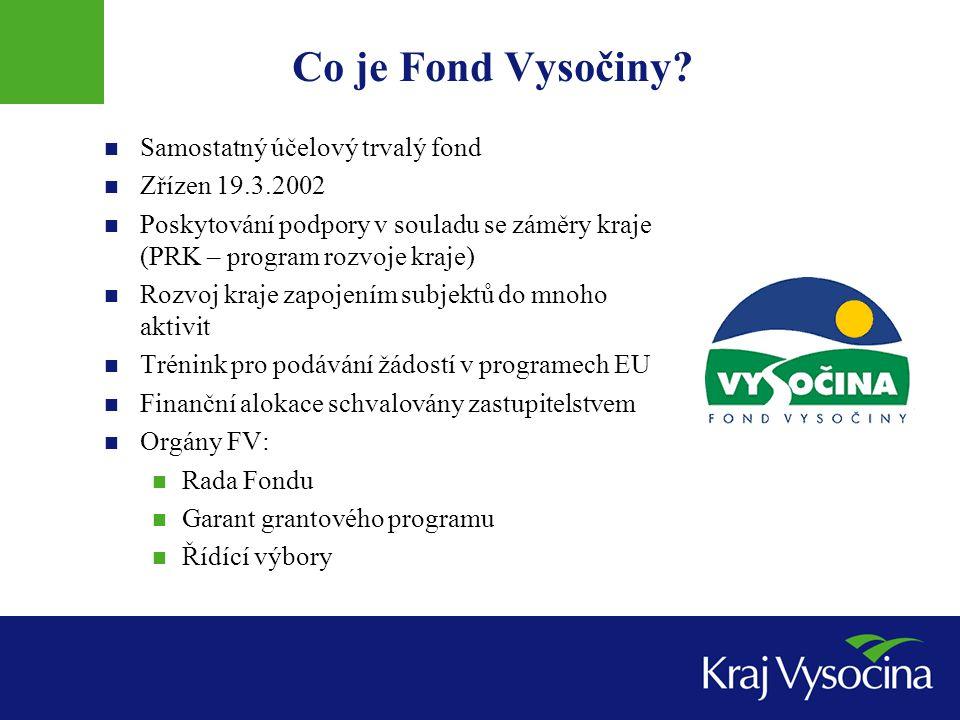 Co je Fond Vysočiny? Samostatný účelový trvalý fond Zřízen 19.3.2002 Poskytování podpory v souladu se záměry kraje (PRK – program rozvoje kraje) Rozvo