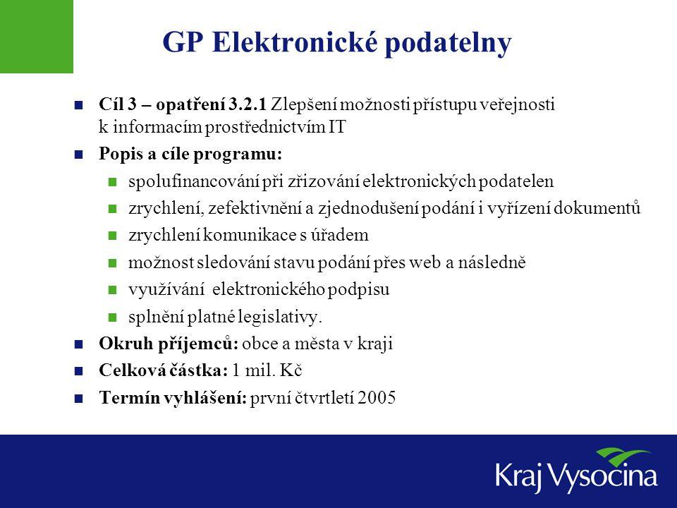 GP Elektronické podatelny Cíl 3 – opatření 3.2.1 Zlepšení možnosti přístupu veřejnosti k informacím prostřednictvím IT Popis a cíle programu: spolufin