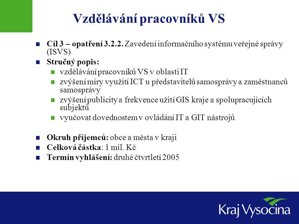 Cíl 3 – opatření 3.2.2. Zavedení informačního systému veřejné správy (ISVS) Stručný popis: vzdělávání pracovníků VS v oblasti IT zvýšení míry využití