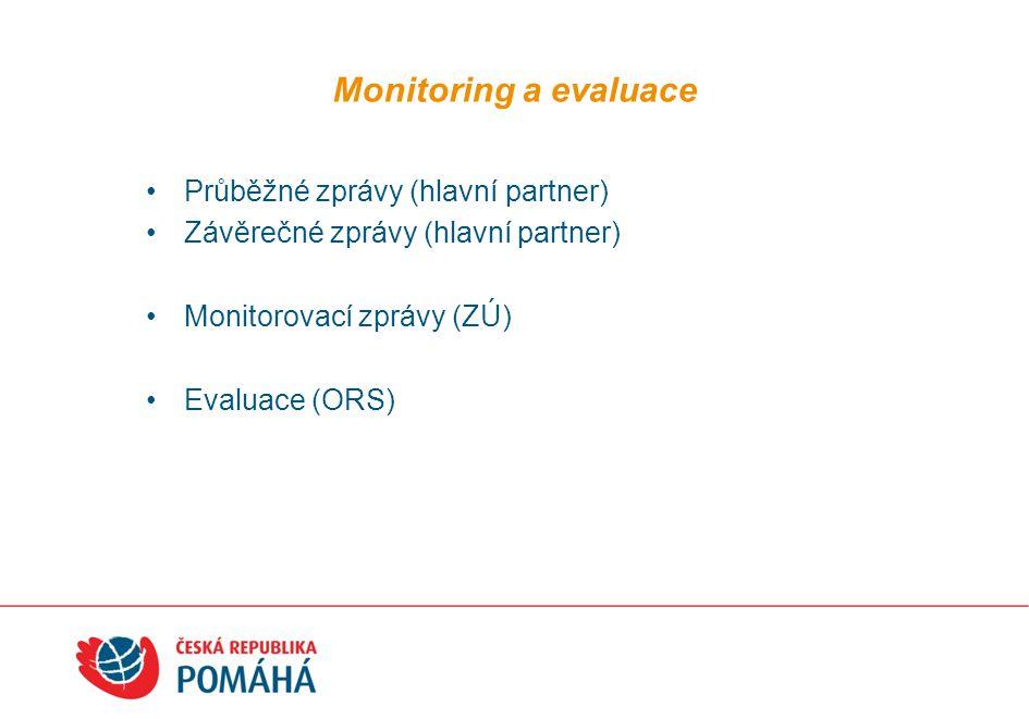 Monitoring a evaluace Průběžné zprávy (hlavní partner) Závěrečné zprávy (hlavní partner) Monitorovací zprávy (ZÚ) Evaluace (ORS)
