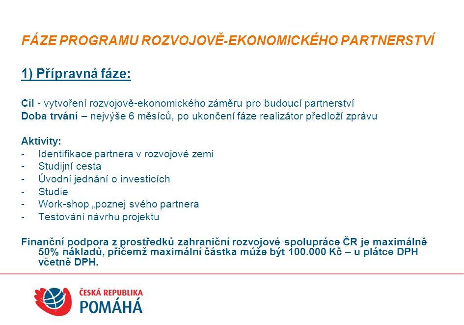 """FÁZE PROGRAMU ROZVOJOVĚ-EKONOMICKÉHO PARTNERSTVÍ 1) Přípravná fáze: Cíl - vytvoření rozvojově-ekonomického záměru pro budoucí partnerství Doba trvání – nejvýše 6 měsíců, po ukončení fáze realizátor předloží zprávu Aktivity: -Identifikace partnera v rozvojové zemi -Studijní cesta -Úvodní jednání o investicích -Studie -Work-shop """"poznej svého partnera -Testování návrhu projektu Finanční podpora z prostředků zahraniční rozvojové spolupráce ČR je maximálně 50% nákladů, přičemž maximální částka může být 100.000 Kč – u plátce DPH včetně DPH."""