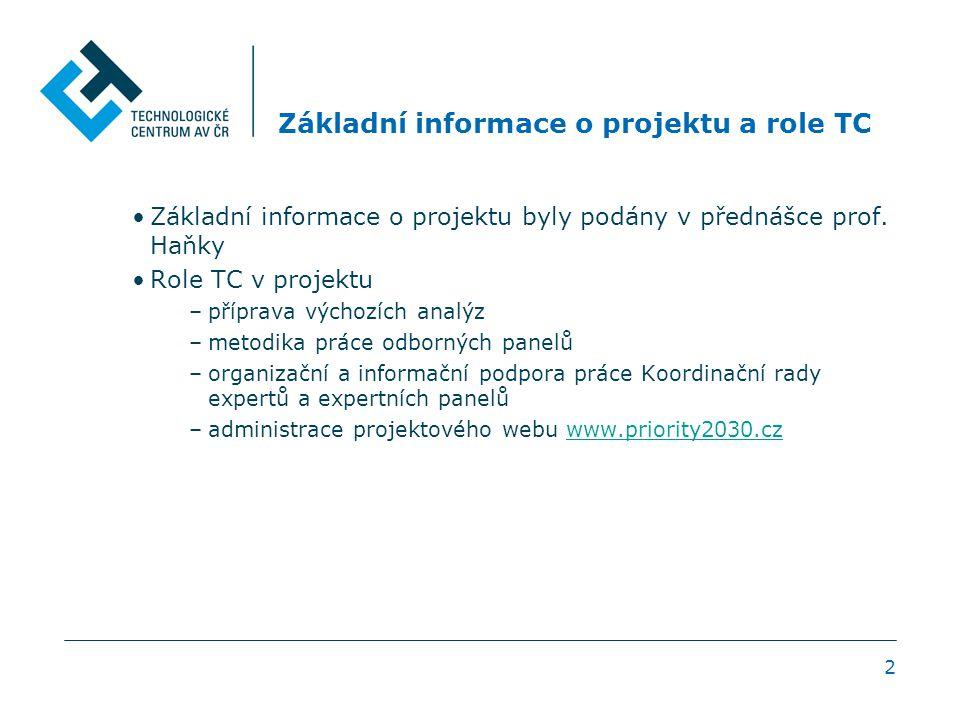 2 Základní informace o projektu a role TC Základní informace o projektu byly podány v přednášce prof.