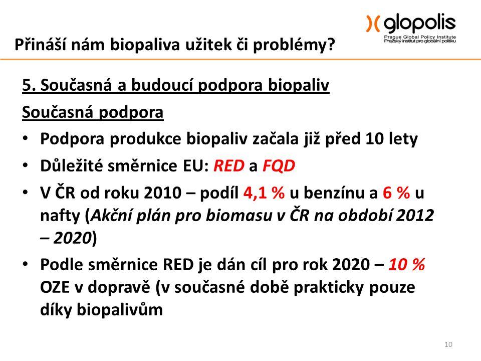 Přináší nám biopaliva užitek či problémy? 5. Současná a budoucí podpora biopaliv Současná podpora Podpora produkce biopaliv začala již před 10 lety Dů