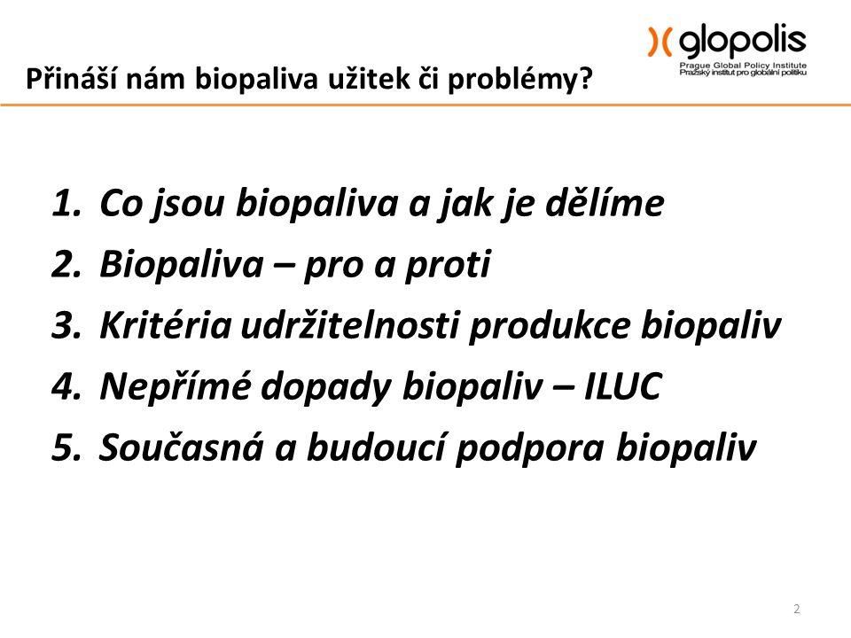Přináší nám biopaliva užitek či problémy? 1.Co jsou biopaliva a jak je dělíme 2.Biopaliva – pro a proti 3.Kritéria udržitelnosti produkce biopaliv 4.N