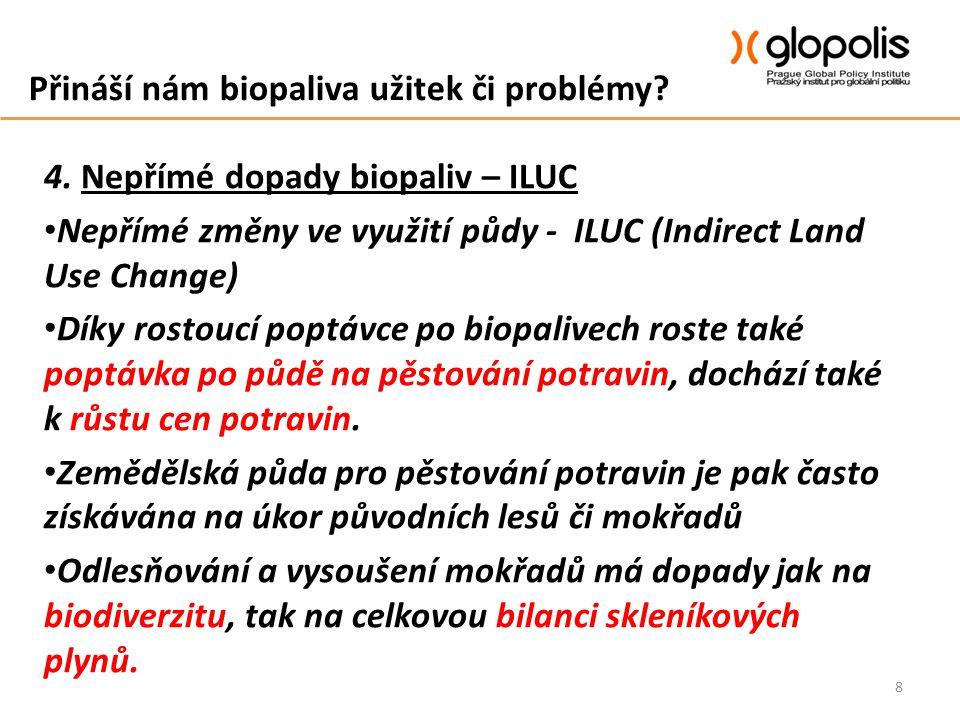 Přináší nám biopaliva užitek či problémy? 4. Nepřímé dopady biopaliv – ILUC Nepřímé změny ve využití půdy - ILUC (Indirect Land Use Change) Díky rosto