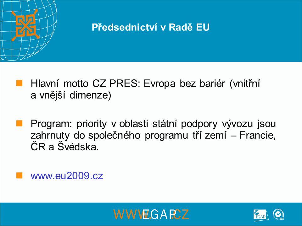 Předsednictví v Radě EU Hlavní motto CZ PRES: Evropa bez bariér (vnitřní a vnější dimenze) Program: priority v oblasti státní podpory vývozu jsou zahrnuty do společného programu tří zemí – Francie, ČR a Švédska.