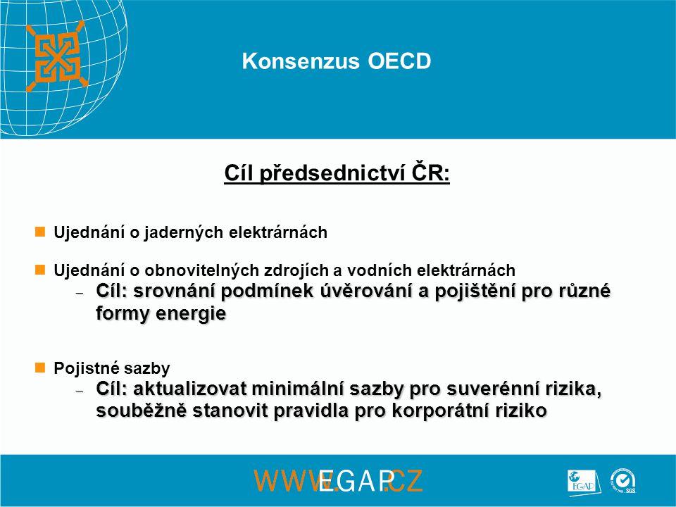 Konsenzus OECD Cíl předsednictví ČR: Ujednání o jaderných elektrárnách Ujednání o obnovitelných zdrojích a vodních elektrárnách  Cíl: srovnání podmínek úvěrování a pojištění pro různé formy energie Pojistné sazby  Cíl: aktualizovat minimální sazby pro suverénní rizika, souběžně stanovit pravidla pro korporátní riziko