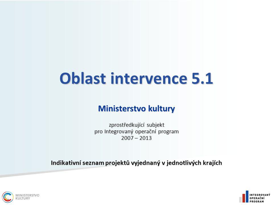 Oblast intervence 5.1 Ministerstvo kultury zprostředkující subjekt pro Integrovaný operační program 2007 – 2013 Indikativní seznam projektů vyjednaný