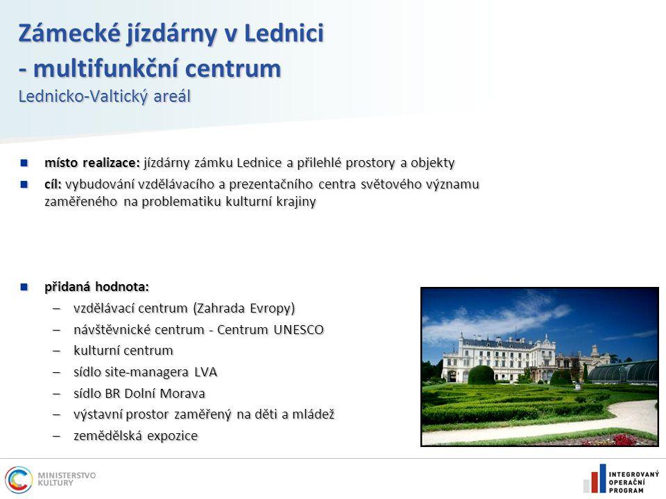 Zámecké jízdárny v Lednici - multifunkční centrum Lednicko-Valtický areál místo realizace: jízdárny zámku Lednice a přilehlé prostory a objekty místo