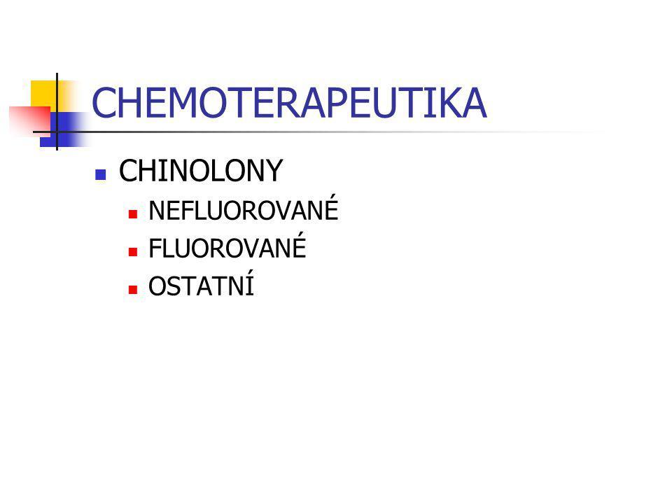 CHEMOTERAPEUTIKA CHINOLONY NEFLUOROVANÉ FLUOROVANÉ OSTATNÍ