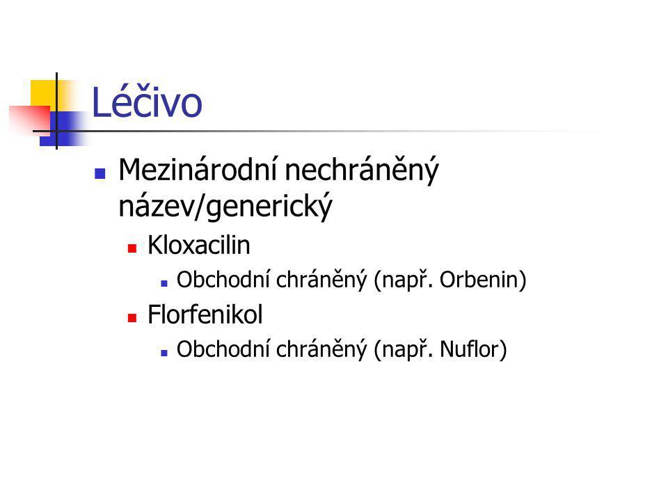 Léčivo Mezinárodní nechráněný název/generický Kloxacilin Obchodní chráněný (např. Orbenin) Florfenikol Obchodní chráněný (např. Nuflor)