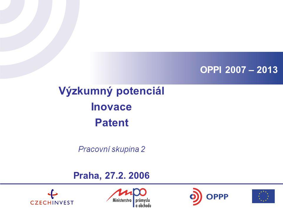 Výzkumný potenciál Inovace Patent Pracovní skupina 2 Praha, 27.2. 2006 OPPI 2007 – 2013