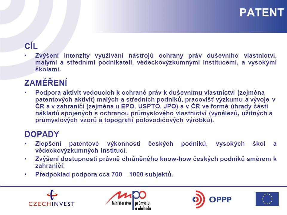 PATENT CÍL Zvýšení intenzity využívání nástrojů ochrany práv duševního vlastnictví, malými a středními podnikateli, vědeckovýzkumnými institucemi, a vysokými školami.