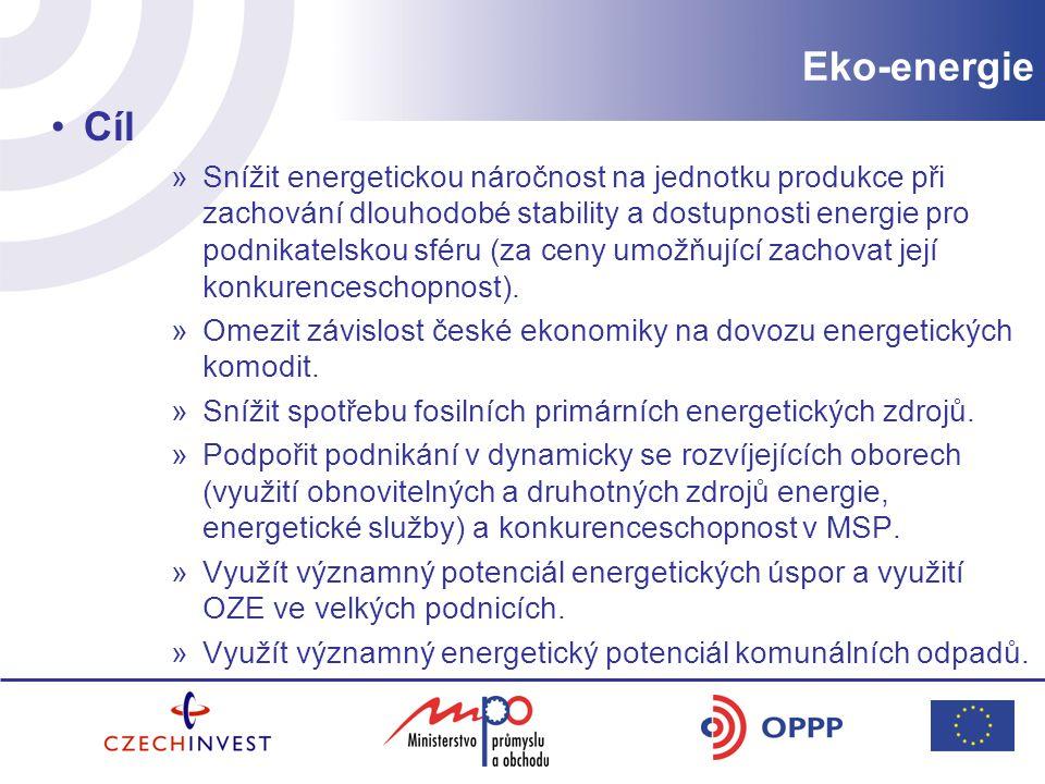 Cíl »Snížit energetickou náročnost na jednotku produkce při zachování dlouhodobé stability a dostupnosti energie pro podnikatelskou sféru (za ceny umožňující zachovat její konkurenceschopnost).